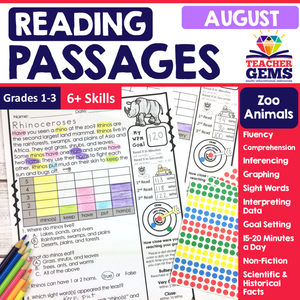 August Reading Passages - Zoo Animals