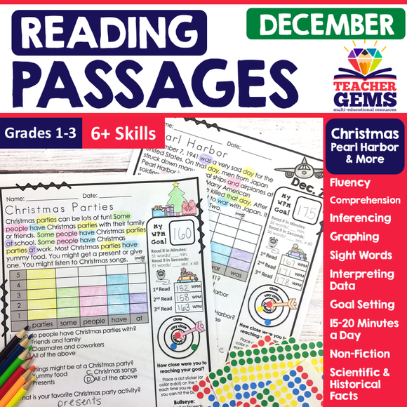 December Reading Passages - Christmas, Pearl Harbor, & More