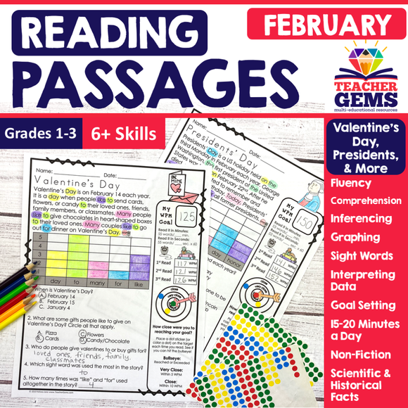 February Reading Passages - Valentine's Day, Presidents, & More