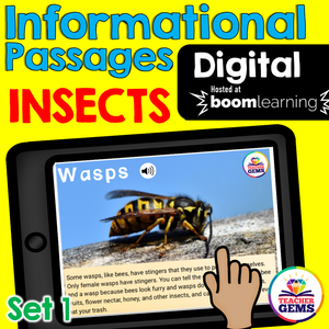Insects Informational Passages Set 1 Boom Cards™ Distance Learning