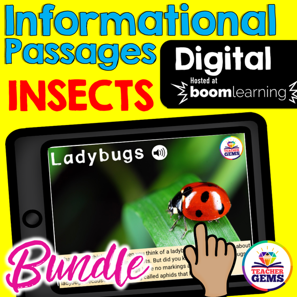 Insects Informational Passages Boom Cards™ Distance Learning Bundle