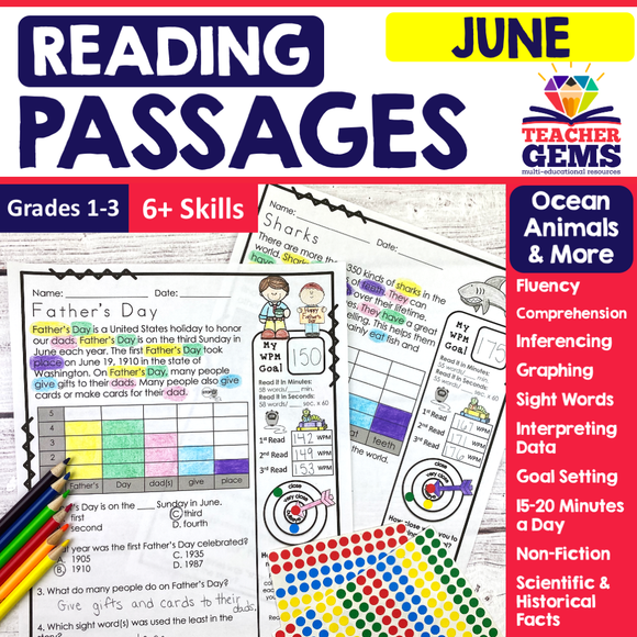 June Reading Passages - Ocean Animals, Father's Day, & More