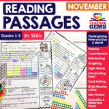 November Reading Passages - Thanksgiving, Veteran's Day, & Elections