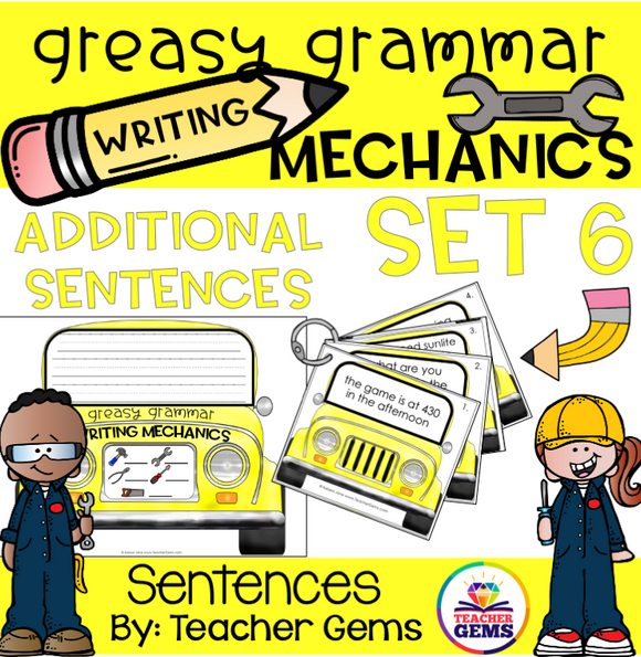 Greasy Grammar Writing Mechanics Set 6 Sentences