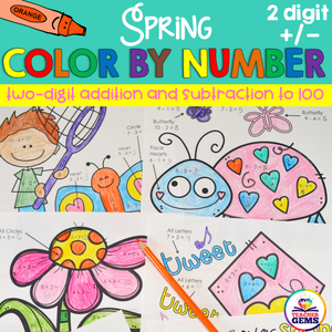 Spring Color by Number Two-Digit Addition and Subtraction to 100
