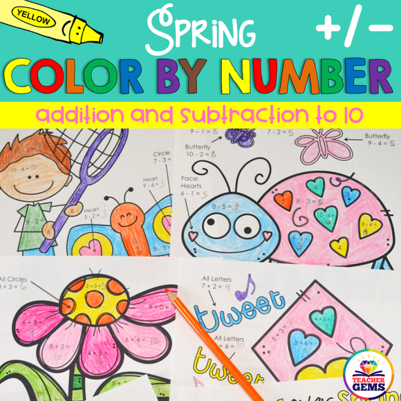 Spring Color by Number Addition and Subtraction to 10