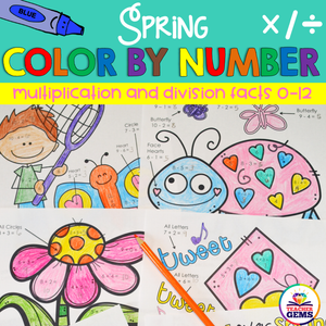 Spring Color by Number Multiplication and Division Facts 0-12