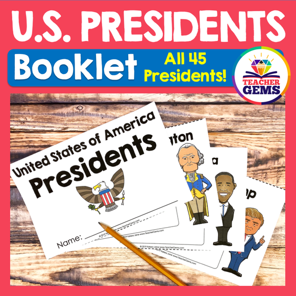 United States Presidents Booklet or Interactive Notebook