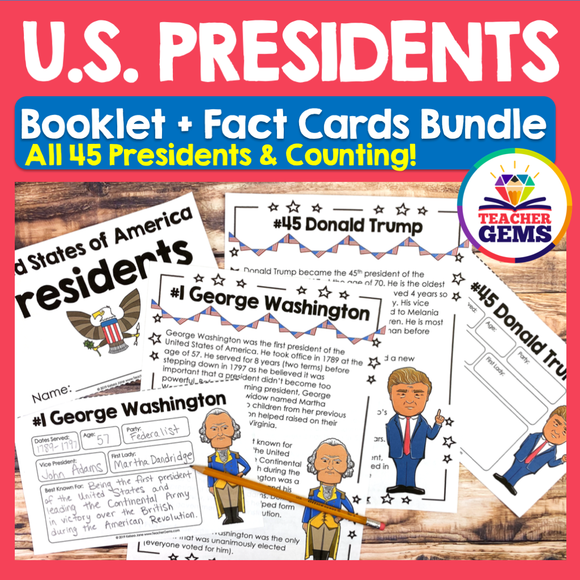 United States Presidents Booklet & Fact Cards Bundle