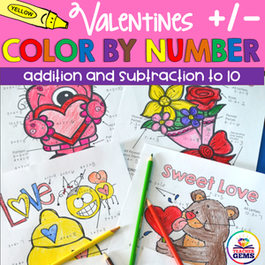 Valentine's Color by Number Addition and Subtraction to 10