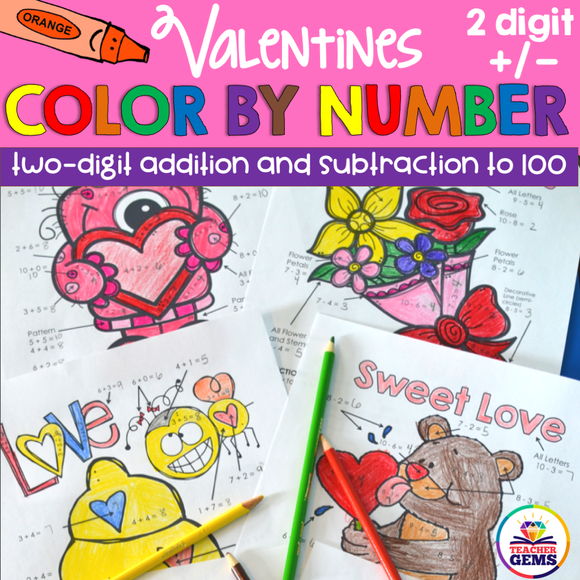 Valentine's Color by Number Two-Digit Addition and Subtraction to 100