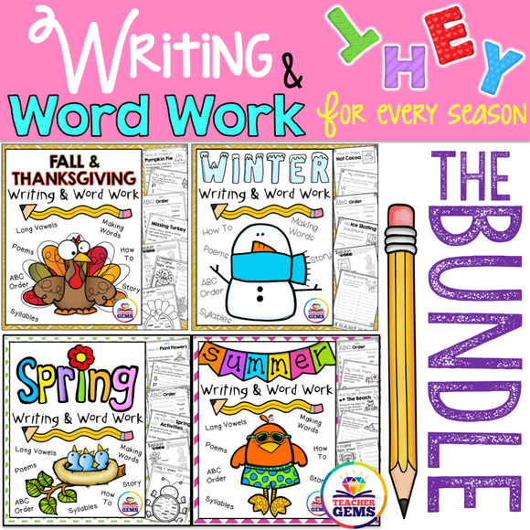 Writing and Word Work Bundle for all Seasons