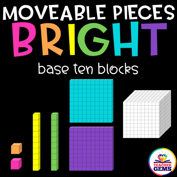 Base Ten Blocks Moveable Pieces Clipart