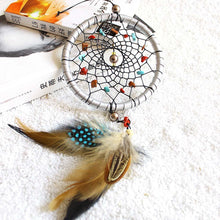 Load image into Gallery viewer, Silver Dream Catcher Feathers Core Bead Dreamcatcher Wall Car Decoration