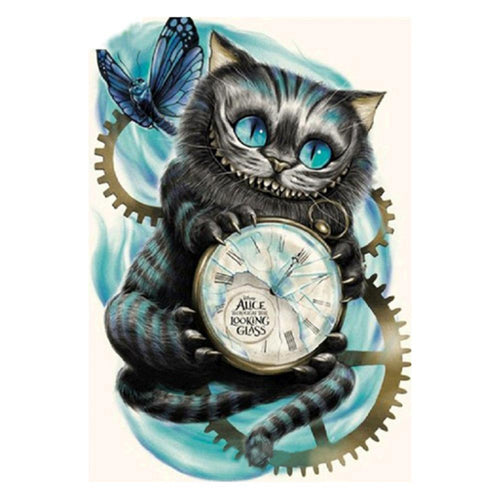 Cat Clock Patchwork - Partial Round Diamond - 30x40cm