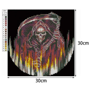 Skeleton Warrior - Partial Round Diamond - 30x30cm