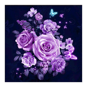 Purple Rose Partial Drill Paintings