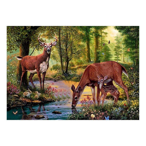 Diamond Painting Kits-Partial Round Drill Wild Deer 5D PaintingDIY Craft