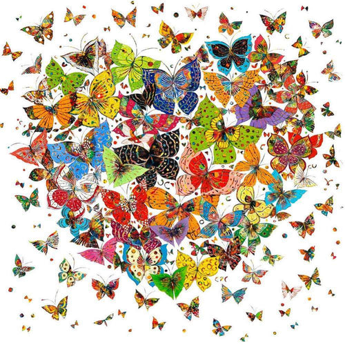 Diamond Painting Kits-Full Round Drill Butterfly Heart 5D DIY
