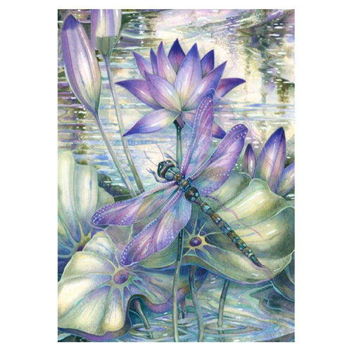 Diamond Painting Kits-Full Round Drill Dragonfly Lotus Flower 5D DIY Decor