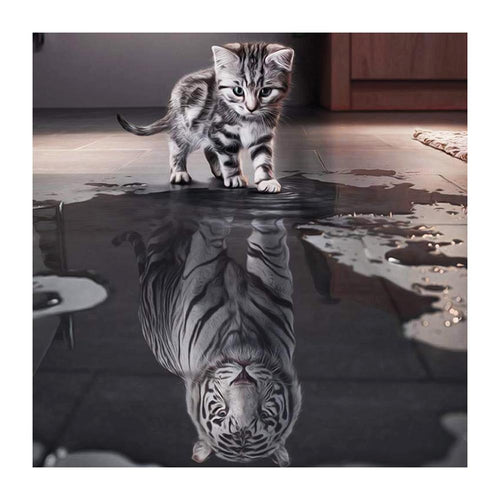 Reflection Cat  - Full Round Diamond - 40x40cm