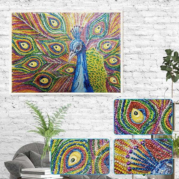 5D DIY Special-shaped Diamond Painting Peacock Kit