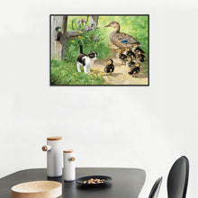 Load image into Gallery viewer, Village Cat Ducks - Full Round Diamond - 40x30cm