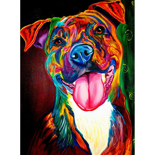 5D DIY Full Drill Square Diamond Painting Color Dog Cross Stitch Embroidery
