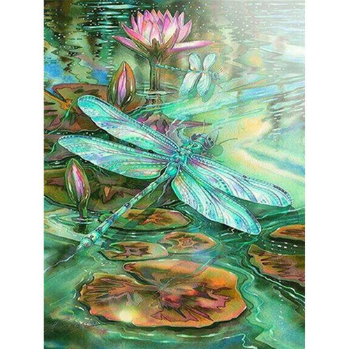 5D DIY Full Drill Diamond Painting Dragonfly Pond