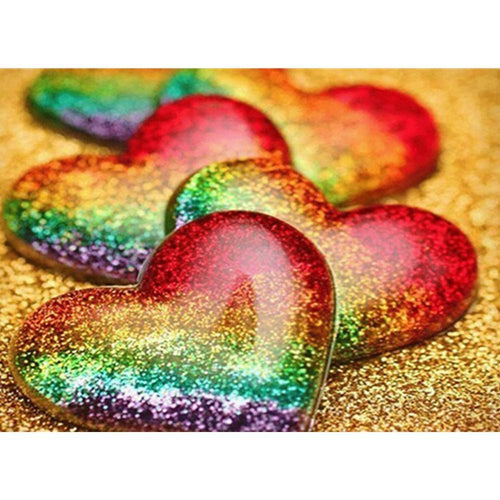 Sequins Heart - Full Round Diamond - 40x30cm
