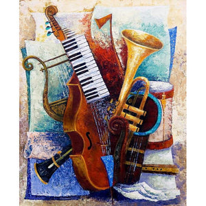 Musical Instruments - Full Round Diamond - 30x40cm