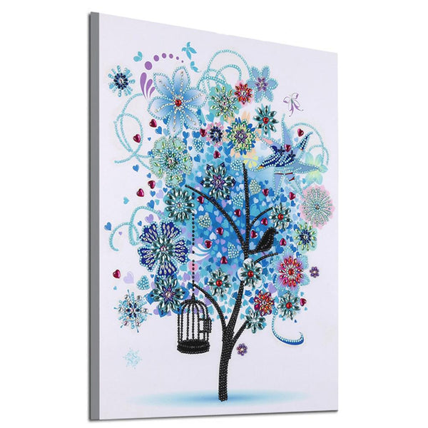 5D DIY Special Shaped Diamond Painting Blue Tree Cross Stitch Embroidery