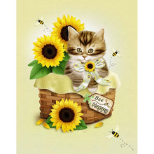 Load image into Gallery viewer, Cat Sunflower - Full Round Diamond - 30x40cm