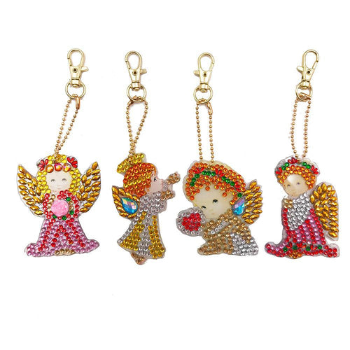 Girl Angle 4pcs DIY Special Shape  Full Drill Diamond  Keychain