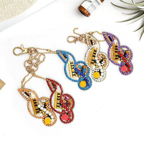 Musical Notes 5pcs DIY Full Drill Diamond  Special-shaped Keychain