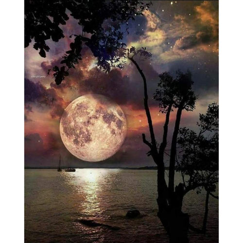Moon Scenery  - Full Round Diamond - 30x40cm