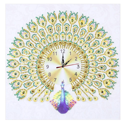 Peafowl Clock - Special Shaped Diamond - 35x35cm