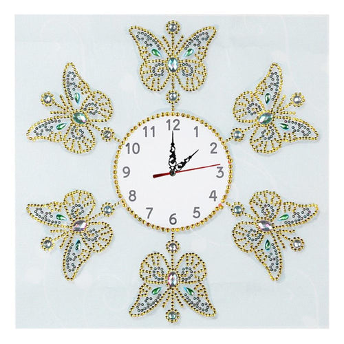 Butterfly Clock - Special Shaped Diamond - 35x35cm