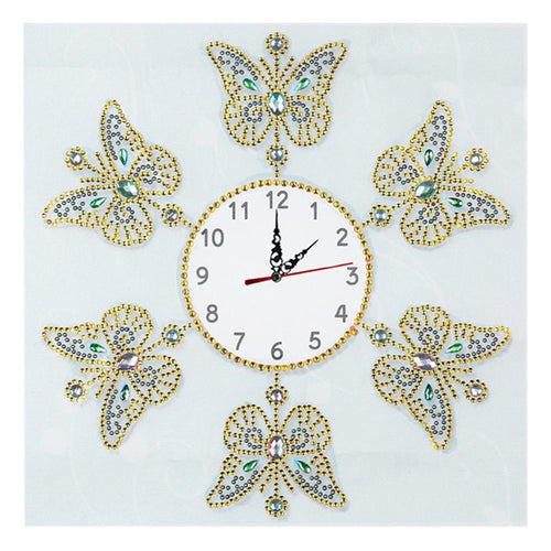 DIY Butterfly Special Shaped Diamond Painting Cross Stitch Clock Home Decor