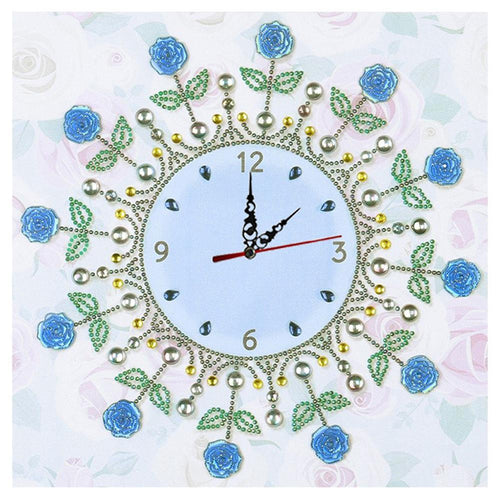 Flower Clock - Special Shaped Diamond - 35x35cm
