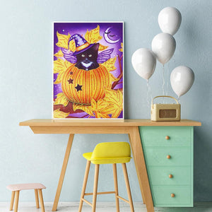 Pumpkin Cat - Special Shaped Diamond - 30x40cm