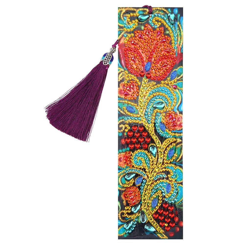 Flower Leather Tassel Bookmark