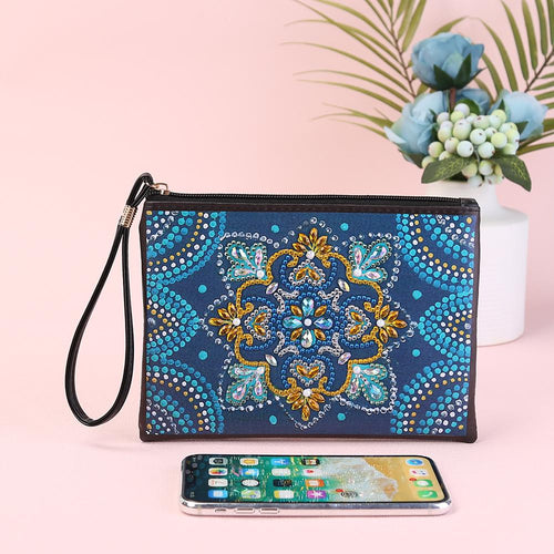 DIY Mandala Special Shaped Diamond  Wristlet Clutch Zipper Wallet