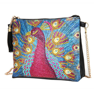 Peafowl Leather Chain Crossbody Bags