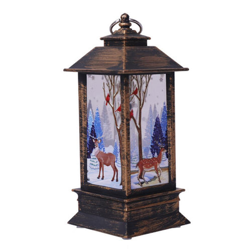 Xmas LED Lantern Light Flames Candle Lamp Glowing Home Party Ornament (Elk)