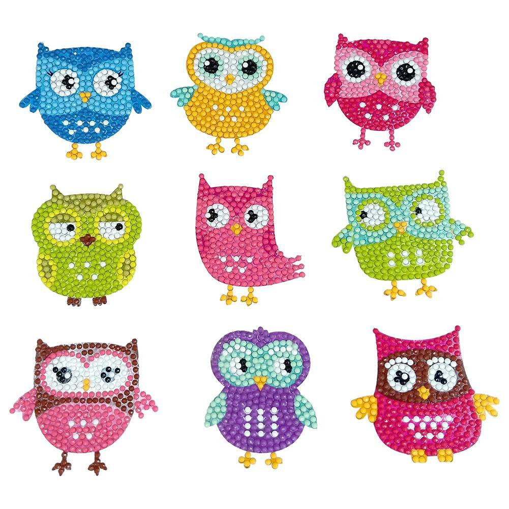 Owl Shape DIY Round Drill Diamond Sticker Paster Child Puzzle