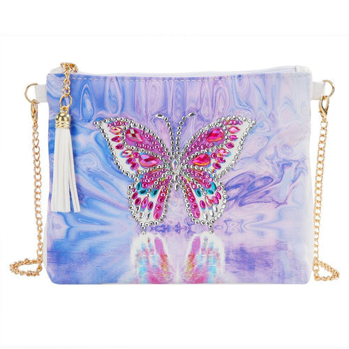 DIY Butterfly Special Shaped Diamond Painting Leather Chain Shoulder Bag