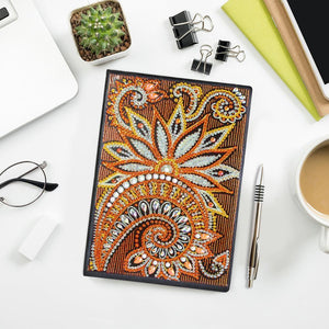 DIY Mandala Special Shaped Diamond 50 Pages A5 Notebook(Without Lines)