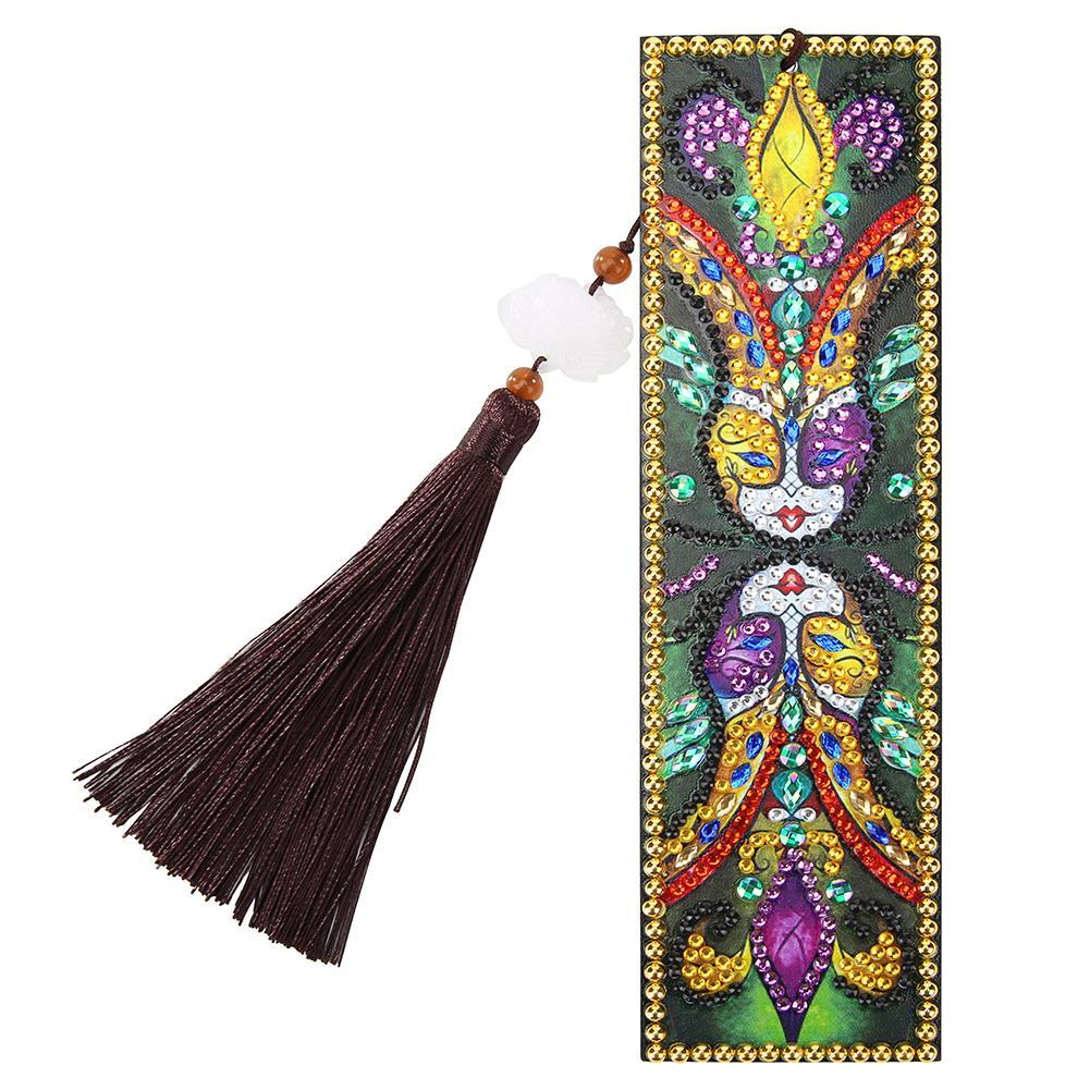 DIY Special Shaped Diamond Creative Leather Tassel Bookmark