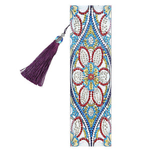 DIY Flower Special Shaped Diamond Leather Tassel Bookmark